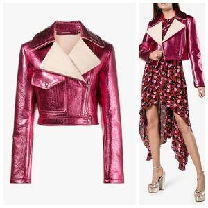 Sies Marjan Pink Metallic Cropped Biker Jacket